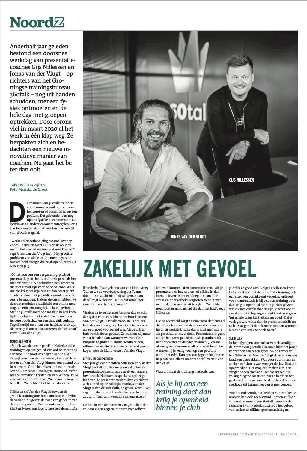 """Featured image for """"Zakelijk met gevoel – Artikel NoordZ"""""""